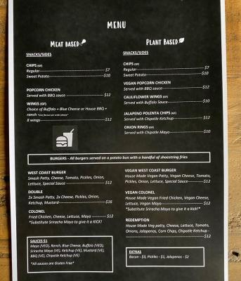 Mayfair Menu