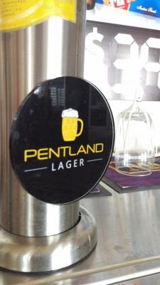 Pentland Lager decal on beer tap