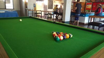 Pool table - view of pool balls racked up