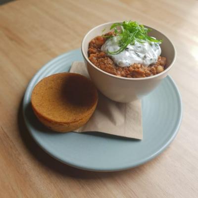 Chilli Non Carne - white beans, tomato, mushroom, eggplant and chipotle cornbread.